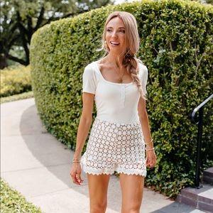 Amaryllis x Dani Austin White Lace Shorts